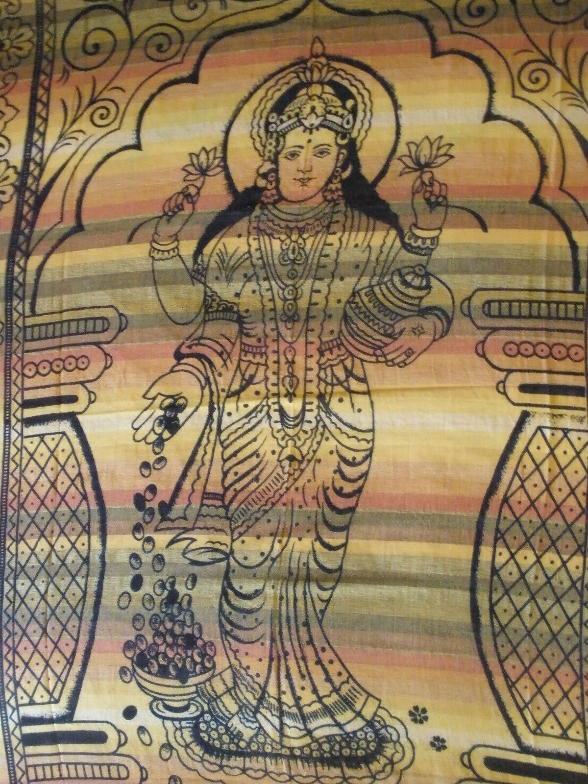 Goddess Lakshmi Single Bed sheet throw cover wall hanging wall art Laksya orange