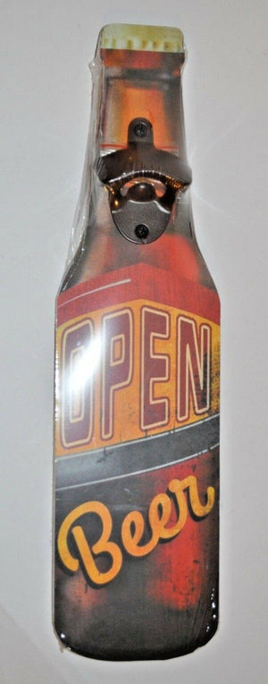 Wooden beer bottle with opener Sign Plaques Signs Garage workshop man cave