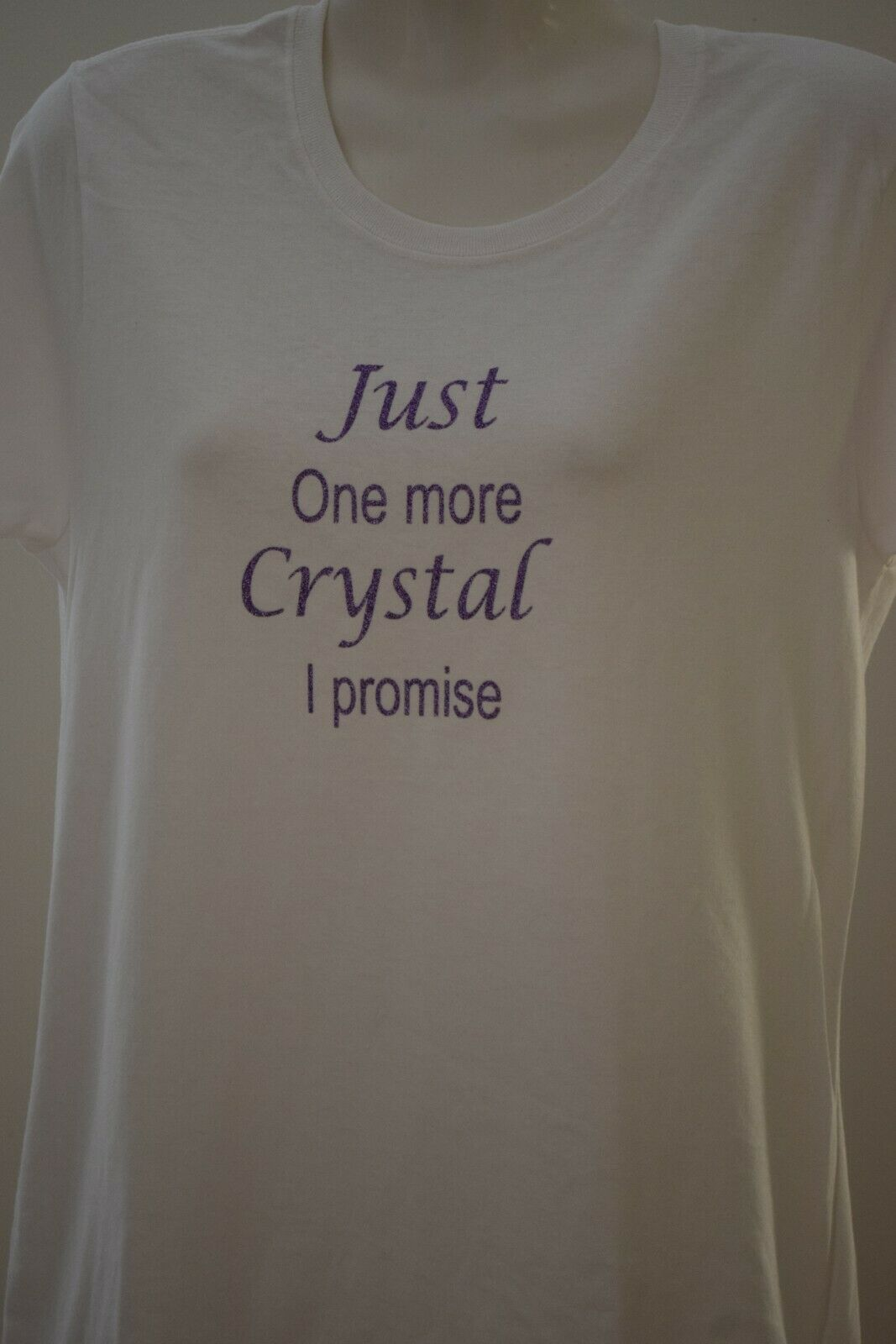 Just one more crystal cotton t-shirt ladies top shirt women's glitter