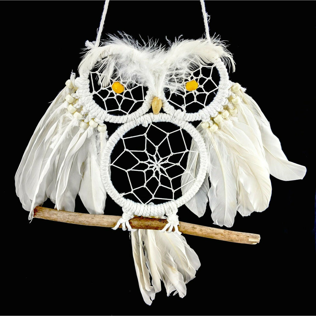 Dreamcatcher OWL spiritual dreaming weaver feathers dream-catcher