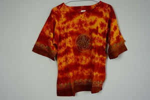 T-shirt Shirt top Tie dye top hippie yoga Nepal cotton Womens Ganesha