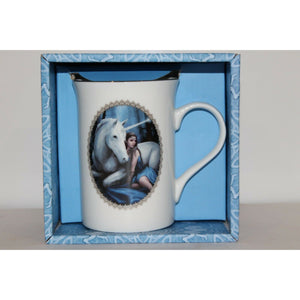 Anne Stokes Coffee Mug Cup bone China Gothic fantasy Unicorn Blue moon