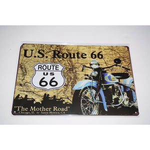 Tin Metal Sign man cave shed motorbike workshop Motorcycle U.S. Route 66