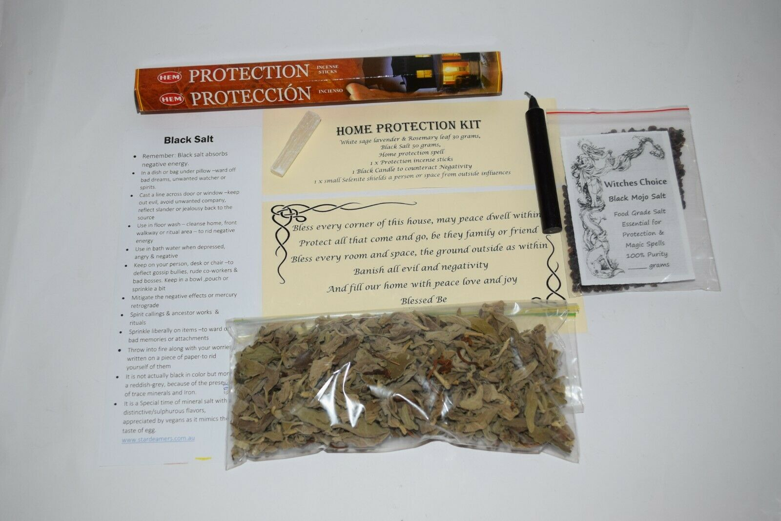 Smudge Protection cleansing home kit white sage black salt incense spell candle