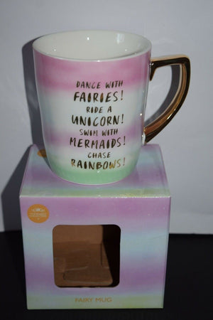 Mug coffee cups Unicorn Mermaid fairies gold leaf Gift Novelty fine china funky