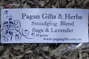 Smudge White sage Lavender leaf pagan wicca cleanse sacred ritual leaves 50gms