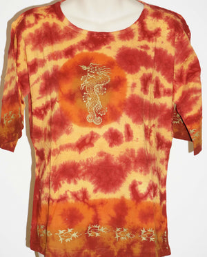 Dragon Tie dye top hippie yoga Nepal cotton t-shirt Unisex Womens Beach casual