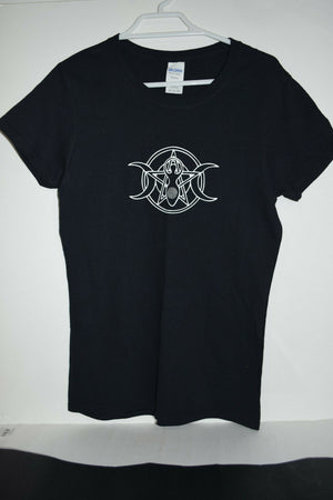 Goddess Black cotton t-shirt ladies top shirt women's Size 8 small pentagram