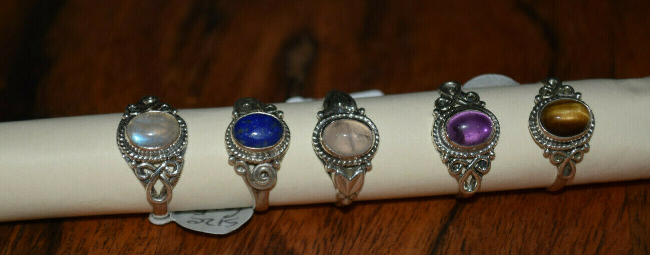 Rings jewelry natural gemstone crystals silver plated Nepal hippy ring 6.8, 9