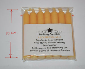 Candles wishing candle holder Ritual with written spell on label chime 10cm long