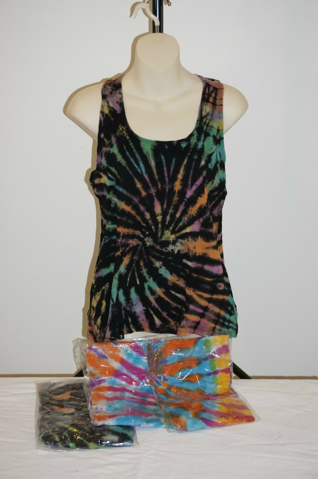 Singlet top shirt Tie dye hippie rainbow Nepal beach wear casual cotton 10-12