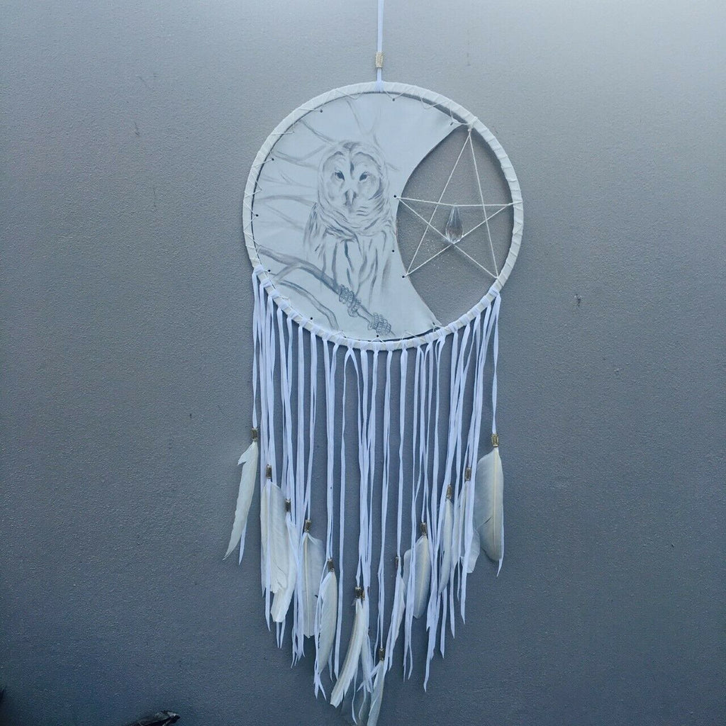 Dreamcatcher Owl pentagram spiritual dreaming weaver feathers dream-catcher