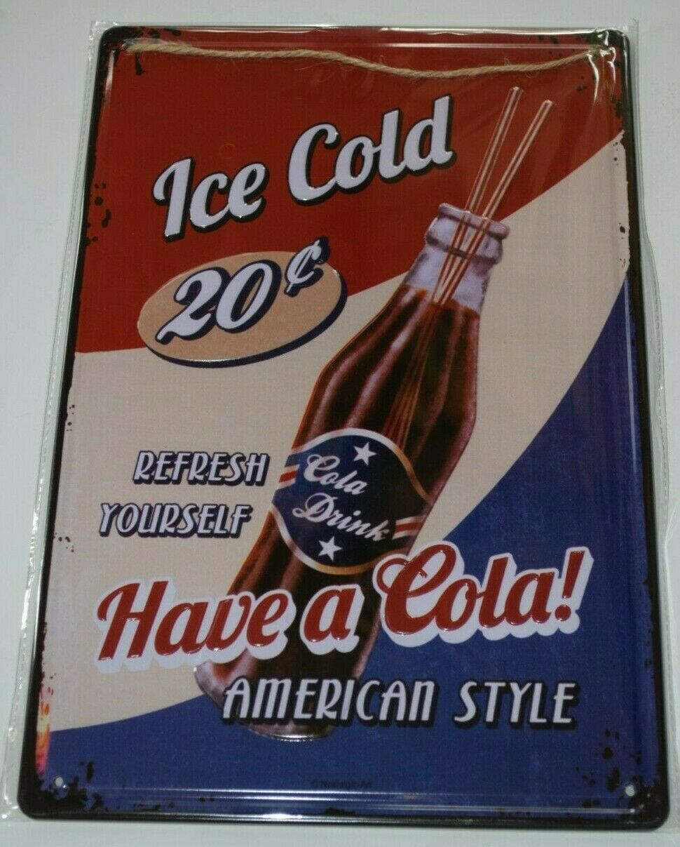 Tin Metal Sign Plaques Signs vintage man cave pub Bar Beer Coke ice cold COKE