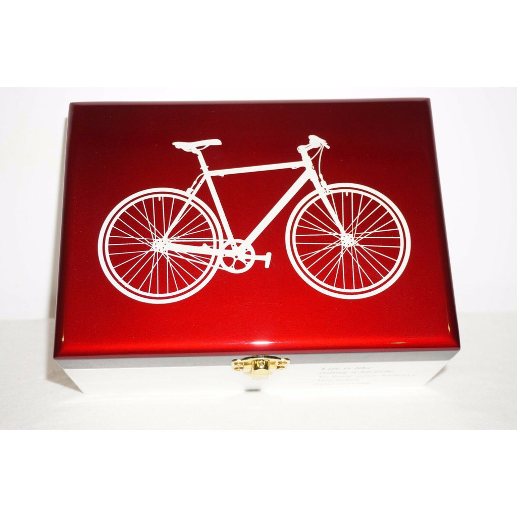 Bike Box Chinese Lacquer Bicycle pearl Keepsake trinket Jewelry gift mirror