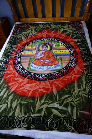 Buddha Single Bed sheet throw cover wall hanging wall art cotton bedding yoga