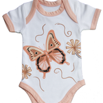 Australian indigenous Artist Indigenous Baby Romper 100% Soft Cotton - Muralappi Dreamytime WALBUL BUTTERFLY