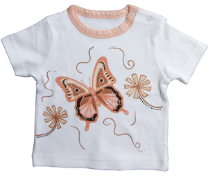Australian indigenous Artist Indigenous Kids T Shirt - Muralappi Dreamytime WALBUL THE BUTTERFLY