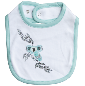 Australian indigenous Artist Indigenous Baby Bib 100% Soft Cotton - Muralappi Dreamytime COOLAH THE KOALA