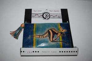 "Australian indigenous Artist Jessica Muralappi Journey Leather Small Vanity Case 18 X 11cm ""Leaping Kangaroo"""