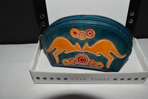 Australian indigenous Artist coin purse leather fusion of cultures Kangaroo