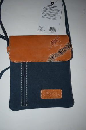 Australian indigenous Artist Genuine Leather / Canvas Small Shoulder Bag 19 X 23cm Diwana Dreaming