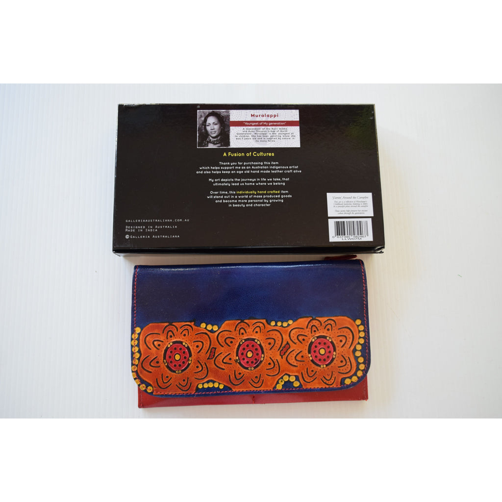 Australian indigenous Artist Leather Wallet Ladies travel 20cm x 13cm