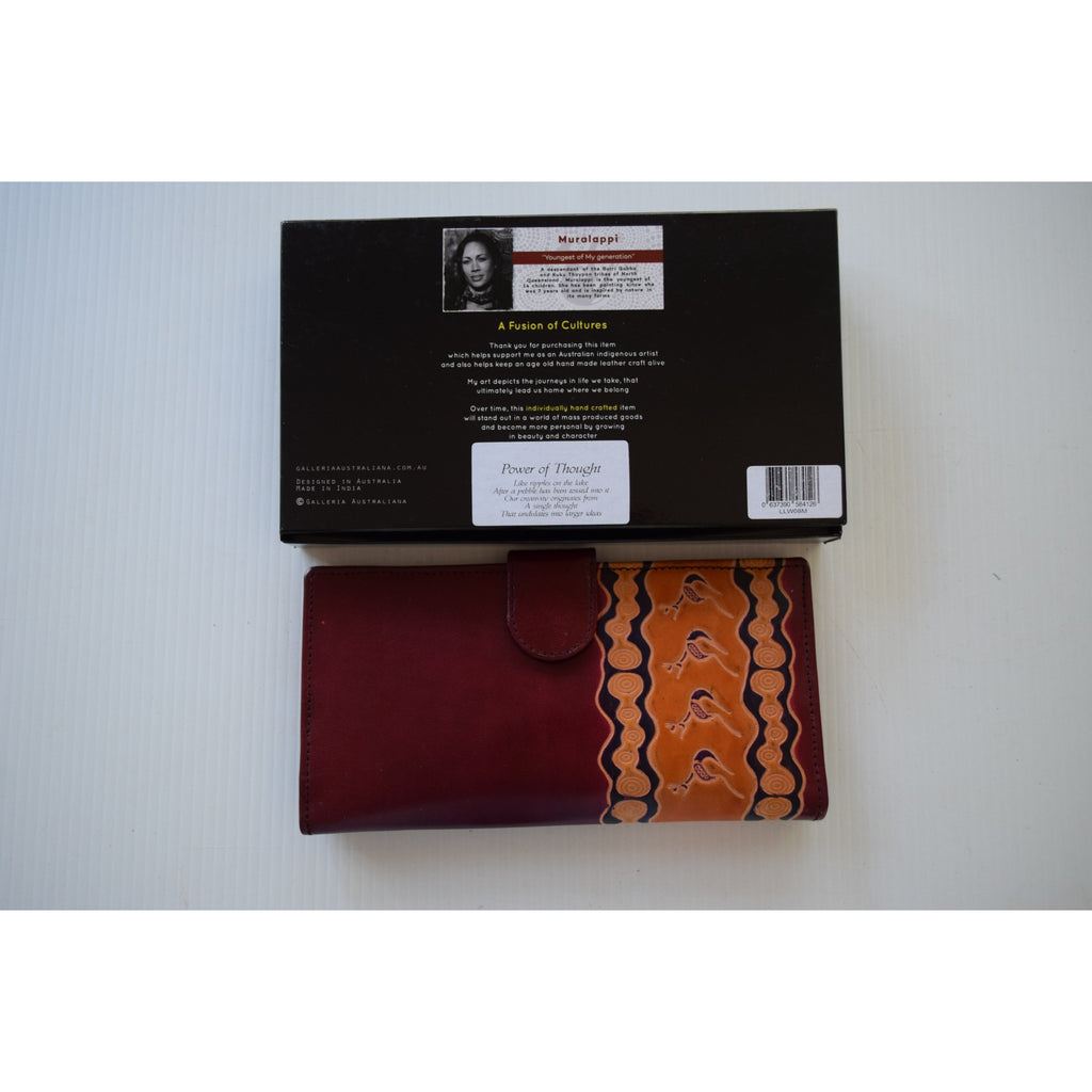 Australian indigenous Artist Leather Wallet Ladies travel 22cm x 11cm power of thought