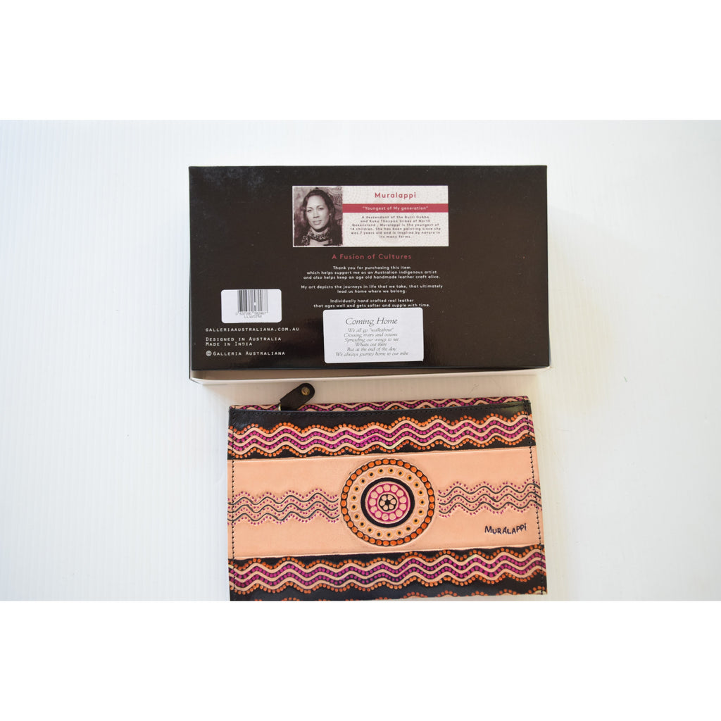 Australian indigenous Artist Leather Wallet / Clutch Ladies 20 X 13cm orange circle