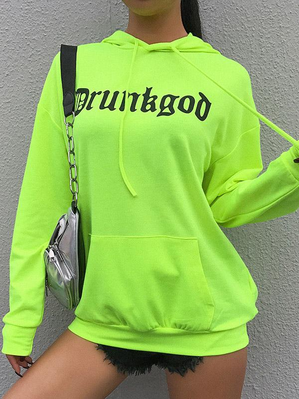 Fluorescent Green Hoodies & Jackets with Large Pocket
