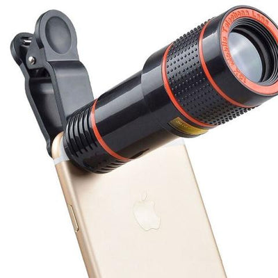 Cell Phone Camera Lens, 12X Zoom Telephoto Universal Clip On hd Lens Kit for iPhone X/8/7/6S/6 Plus/5/SE, Samsung, Android and Smart Phone