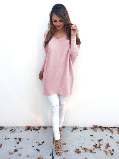 2018 winter long sleeve knit sweater with V neck