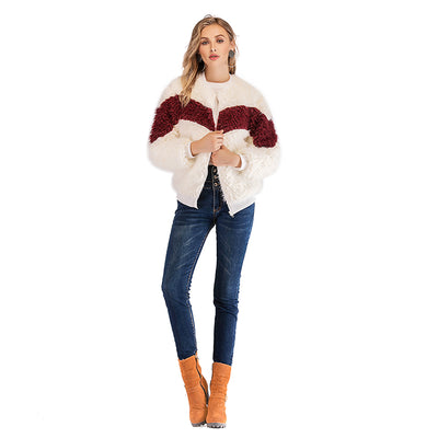 2018 winter Color Block Wool Coat with Zipper