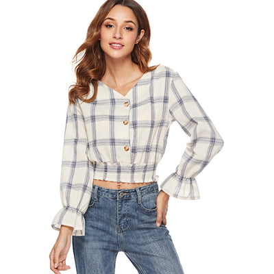 2018 autumn Plaid Blouse with long sleeves