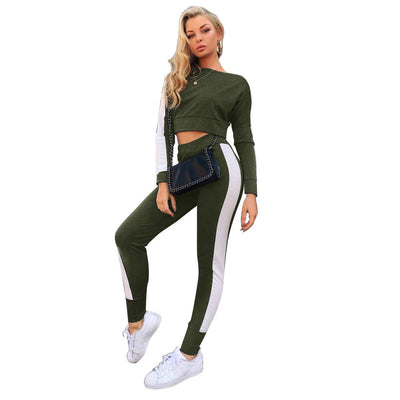 2018 winter Casual sexy stitching sports suit