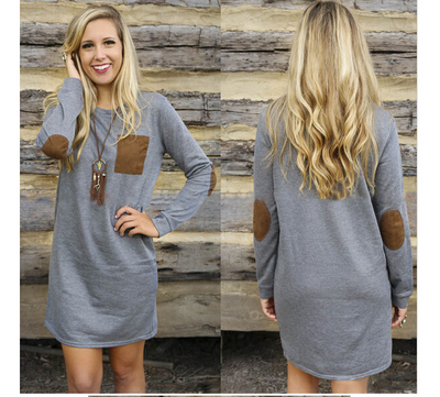 2018 Autumn loose long sleeve patch solid color crew neck dress