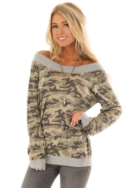 2018 winter Camouflage collar long sleeve sweater