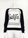 2018 spring Sellie Piece Letter Printed Round Collar Sweater