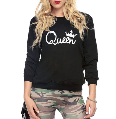 2018 winter New crown letter print long sleeve plus velvet round neck women's sweater