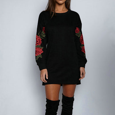 2018 summer New sexy nightclub embroidered long-sleeved dress