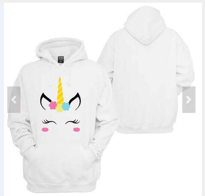 2018 winter New Unicorn Pattern Print Hooded Loose Long Sleeve White Sweater