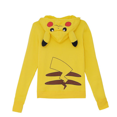 2018 winter New women's cartoon Pikachu loose hooded long-sleeved sweater