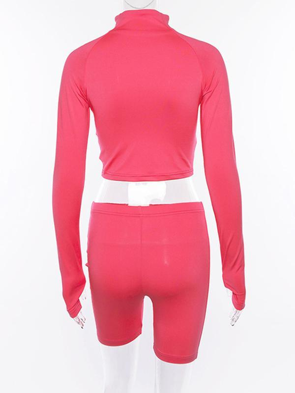 Solid Zipper Long Sleeves Jackets And Shorts Sports Suits