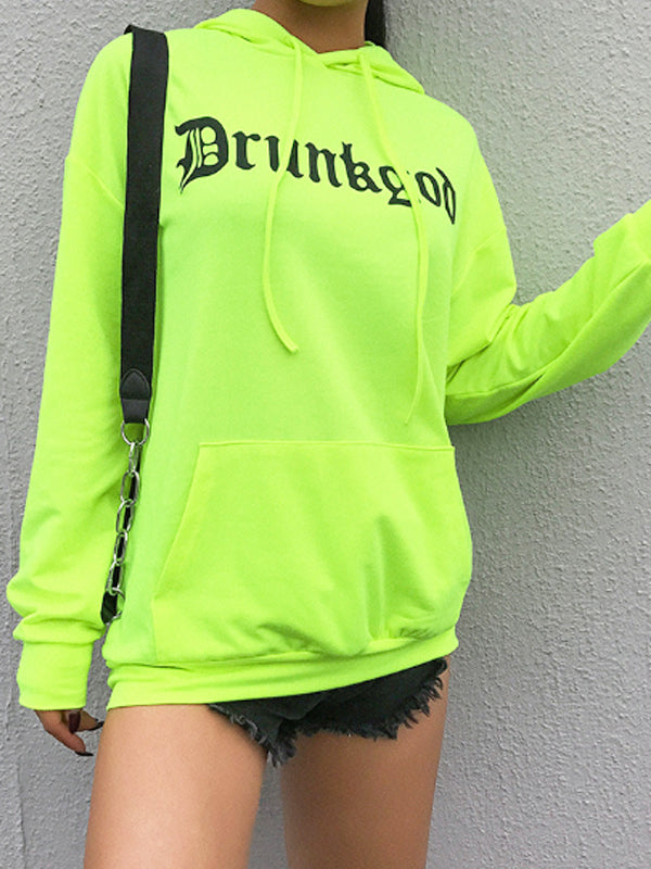 Large Pocket Fluorescent Green Hoodies & Jackets
