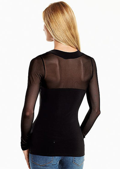 2018 winter Mesh stitching sexy halter long-sleeved T-shirt