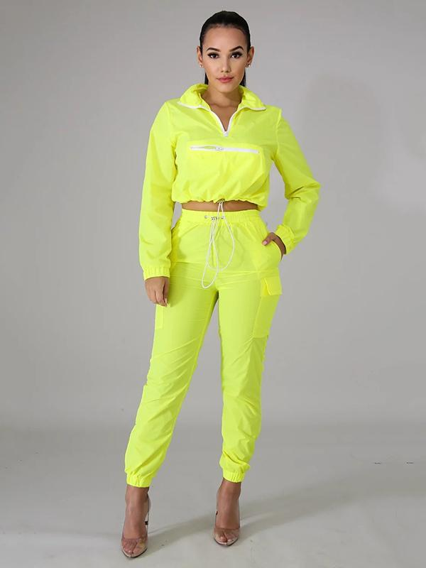 Zipper Crop Sweatershirt And Track Pants Suits