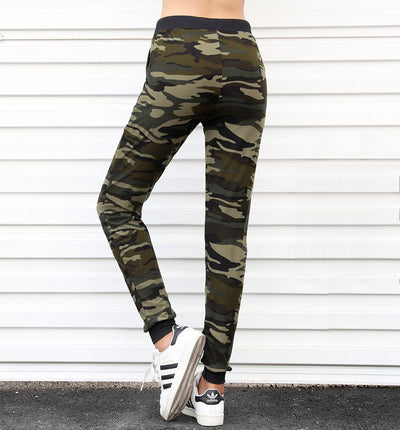 2018 winter Women's Drawstring Waist Camouflage Pencil Pants Slim Fit Elastic Camouflage Pants