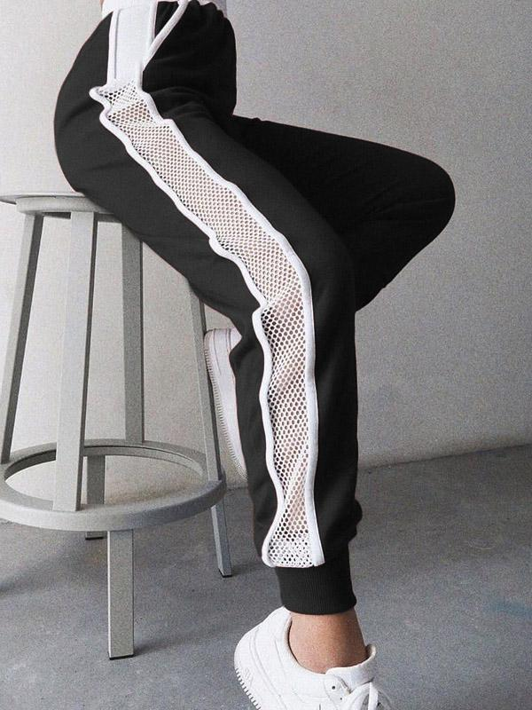 Contrasting Colour Mesh Stitching High-waisted Harem Athletic Pants