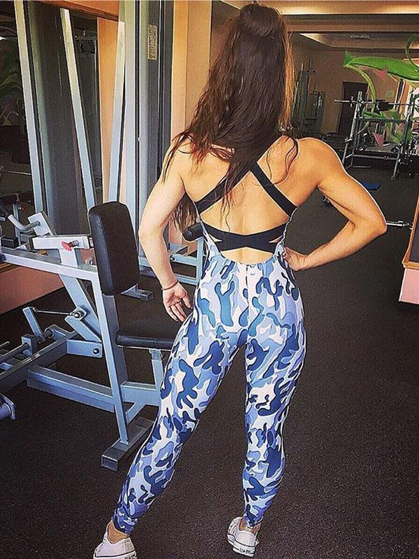 Camo Padded Yoga Racerback Gym Jumpsuits