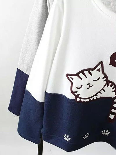 2018 winter Popular long-sleeved color matching cartoon cat animal embroidered sweater