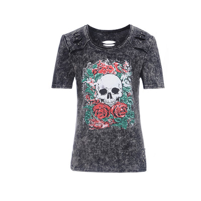 2018 autumn women'   Character skull print washed holes T-shirt